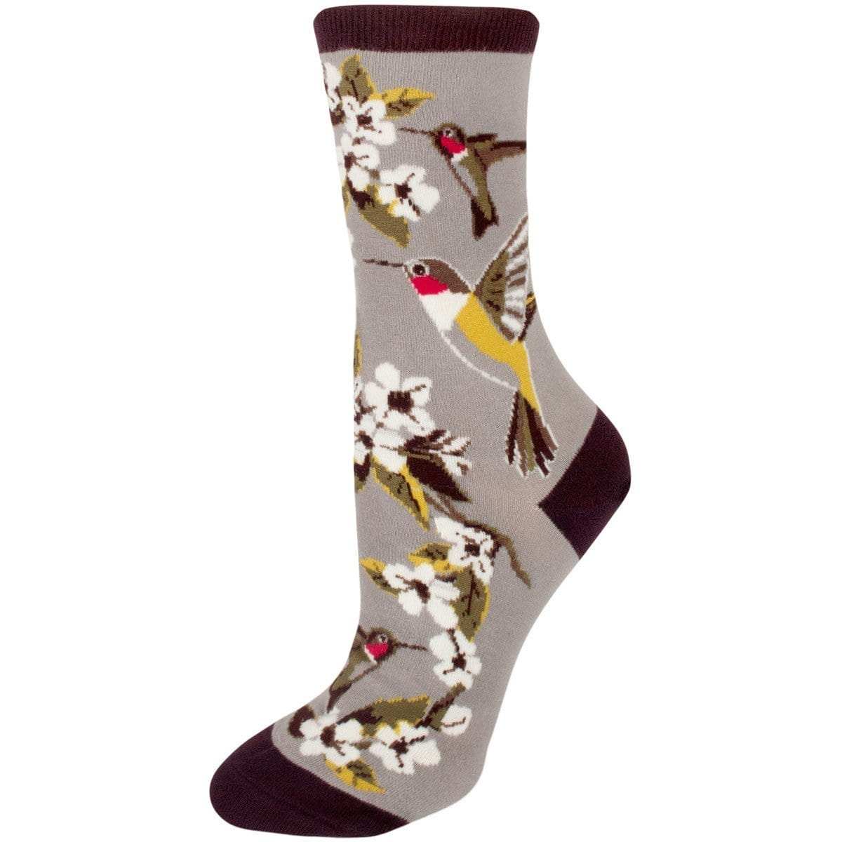 Hummingbird Garden Socks Women's Crew Sock gray