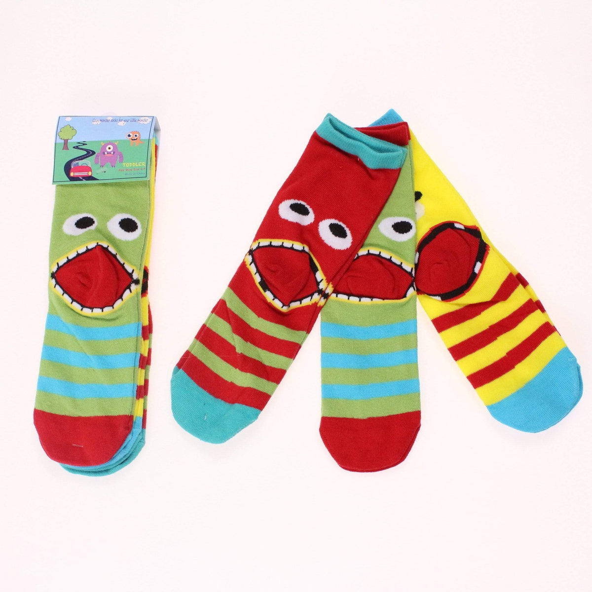 Infant & Toddler Monster Socks Face 3 pack Multi