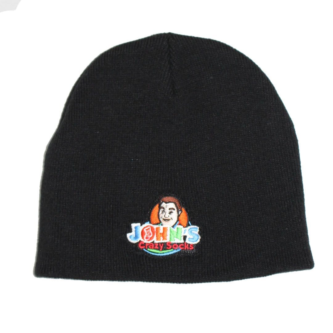 John's Black Embroidered Beanie Knit Hat Black