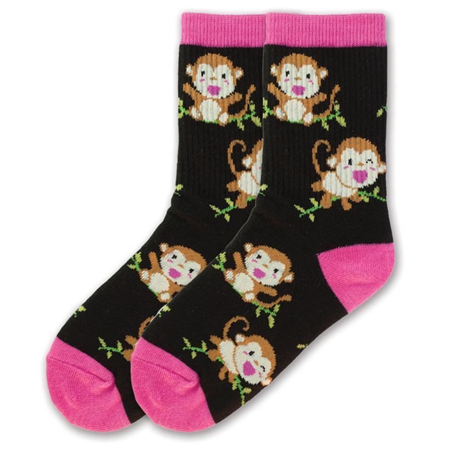 Monkey Socks Children's Crew Sock Black