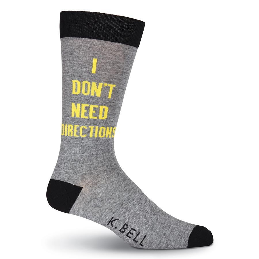 I Don't Need Directions Socks -Men's Crew Sock Grey