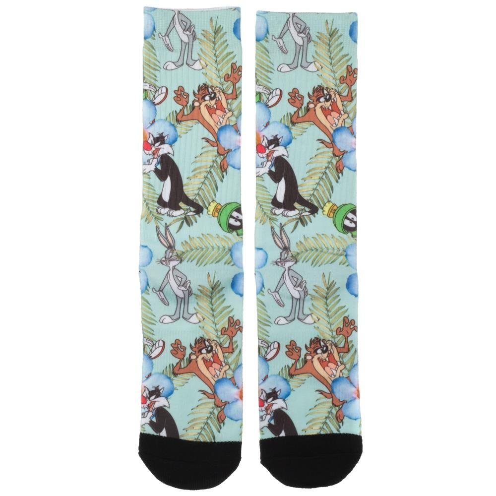 Looney Tunes Floral Sublimated Crew Sock