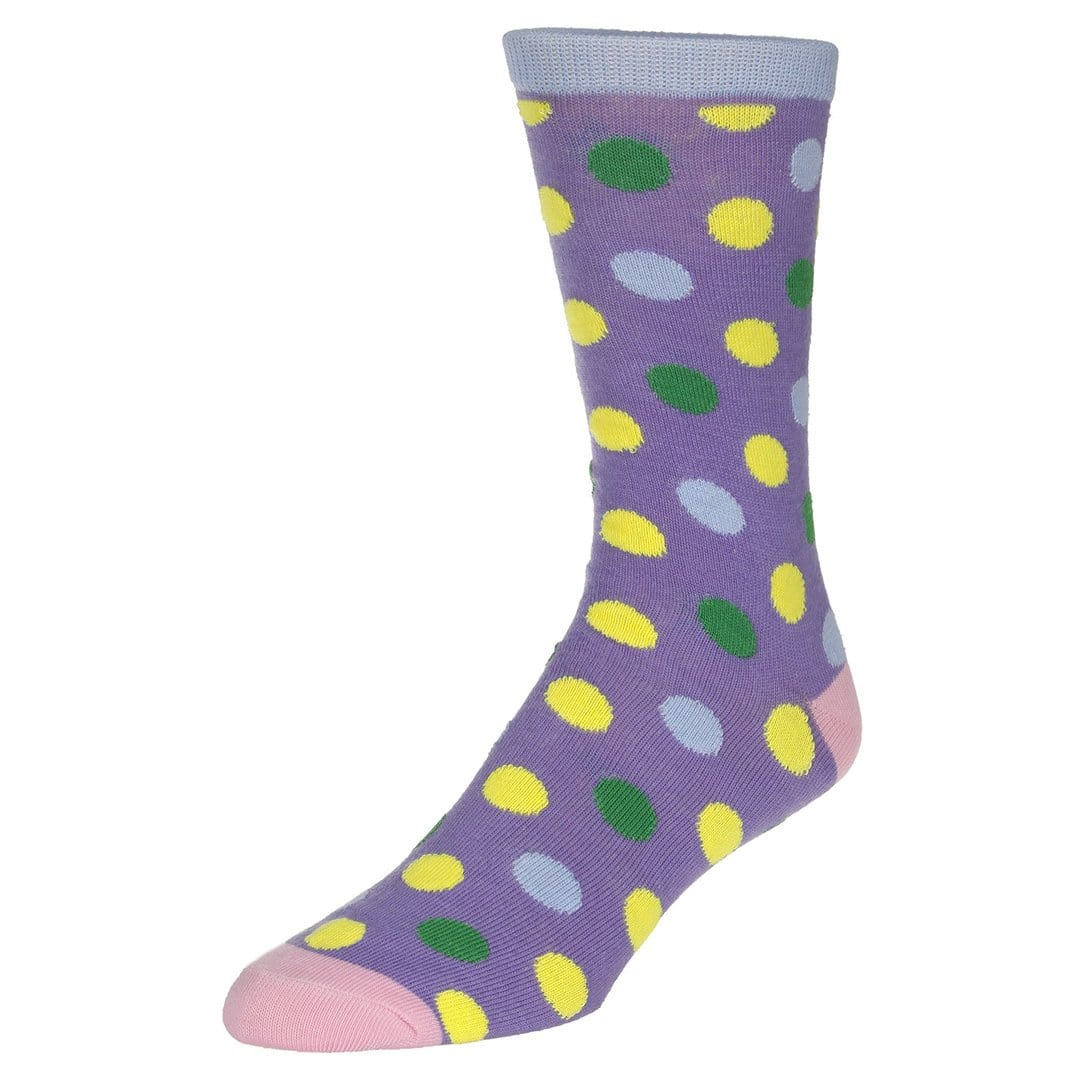 Polka Dot Socks Men's Dress Sock Lilac with green and yellow dots