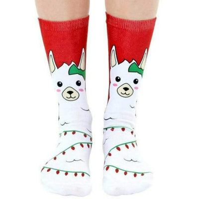 Christmas Lights llama Crew Socks Red