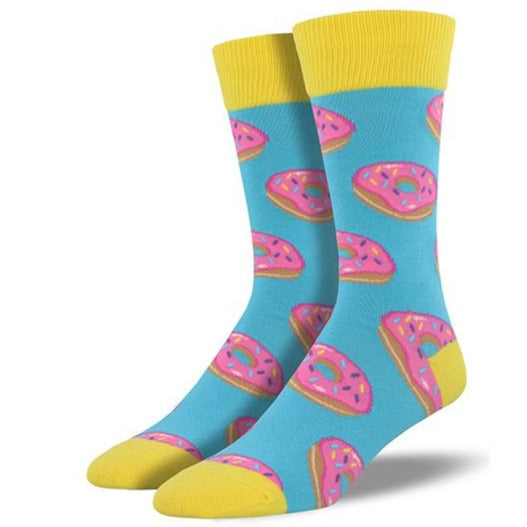 Donuts Socks Men's Crew Sock Blue