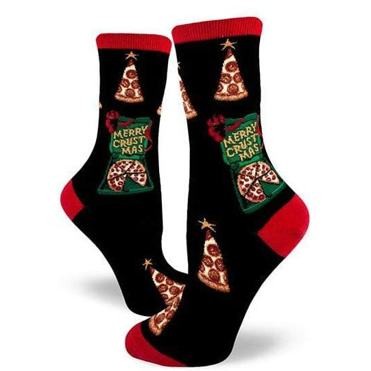 Merry Crustmas Women's Crew Socks Black
