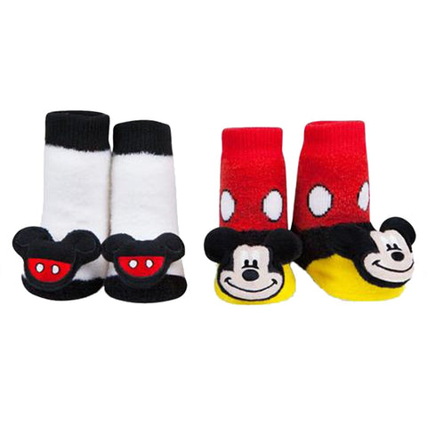 28cd0cc39 Classic Mickey Mouse Socks Baby Rattle Sock