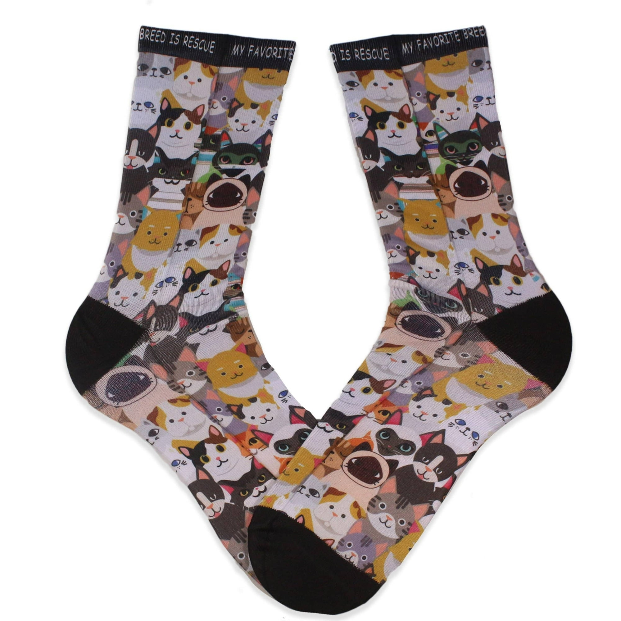 Cat Rescue My Favorite Breed is Rescue Crew Sock Multi
