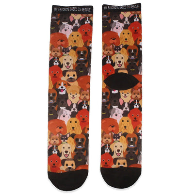 Dog Rescue My Favorite Breed is Rescue Crew Sock Multi