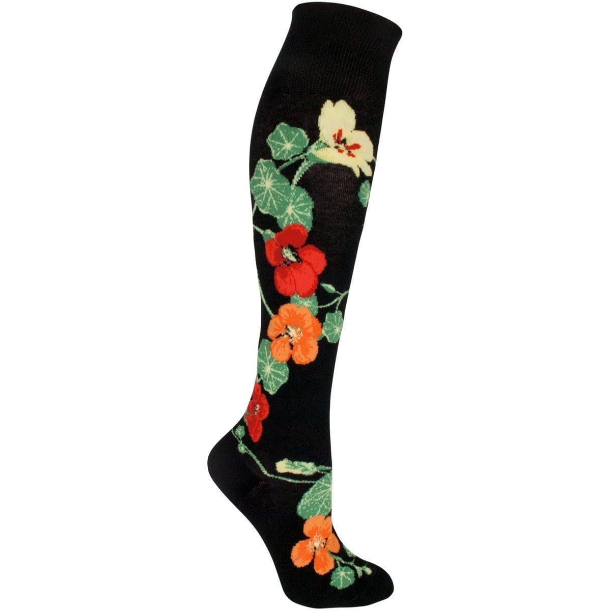Nasturtiums Socks Women's Knee High Sock black