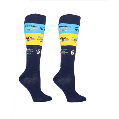 Navy Striped Rockin' Down Syndrome Socks Unisex Knee High Sock Navy