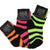 Children's Neon Striped Socks 3 Pack Ages 2-5 Green/Pink/Orange