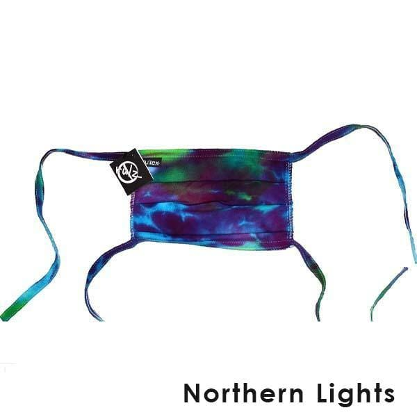 Purple Tie Dye No Rulz Art Pleated Face Mask with Ties Northern Lights - Purple Blue