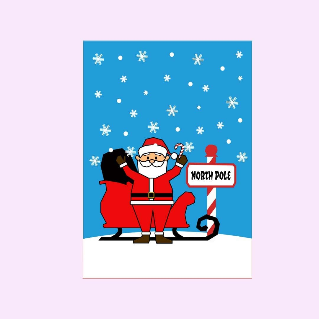 North Pole Holiday Greeting Card Single Card