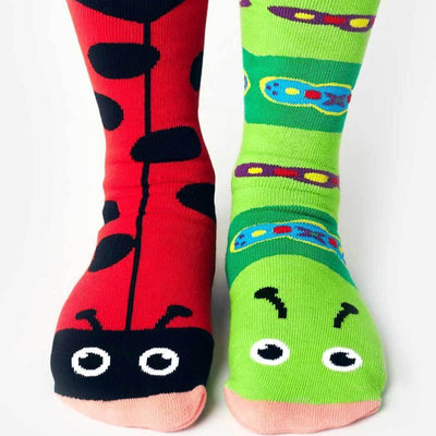 Ladybug & Caterpillar Mismatched Crew Socks for Women