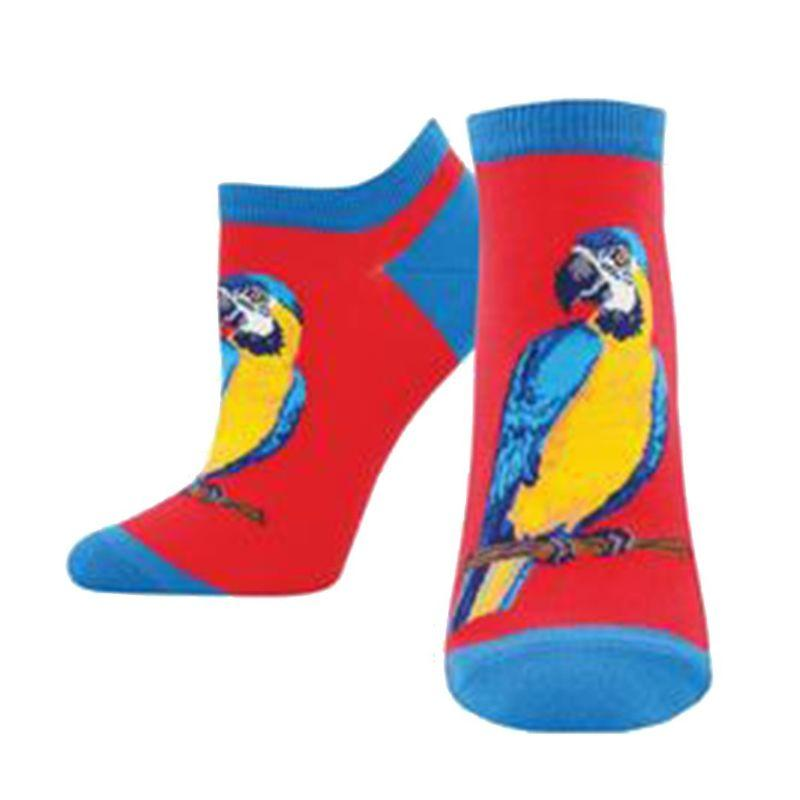 Parrot Socks Women's No-Show Sock Red