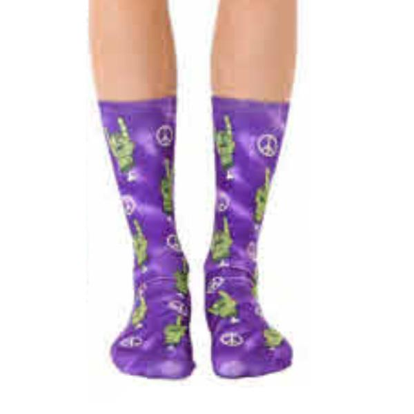 Zombie Peace & Love Crew Socks Purple