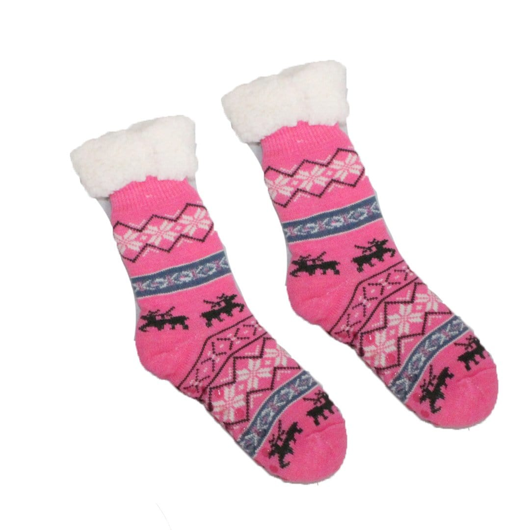 Sherpa Pink Winter Holiday Slipper Socks Non-Skid Slippers Pink