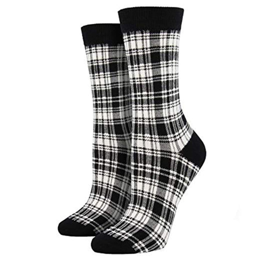 Black and White Plaid Bamboo Crew Socks for Women