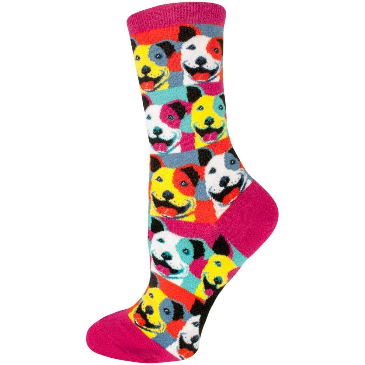 Pop Art Pit Bull Socks Women's Crew Sock rainbow