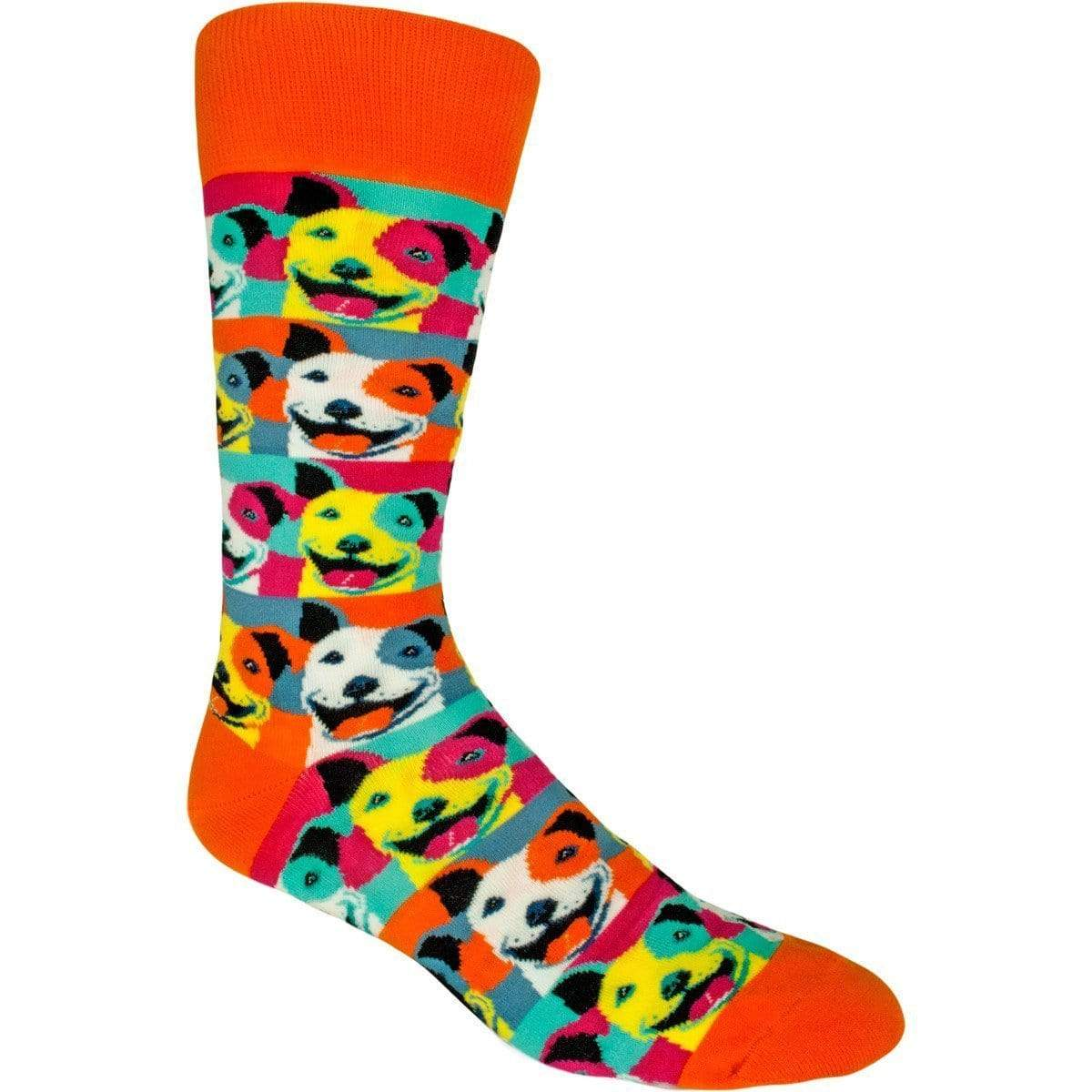 Pop Art Pit Bull Socks Men's Crew Sock rainbow