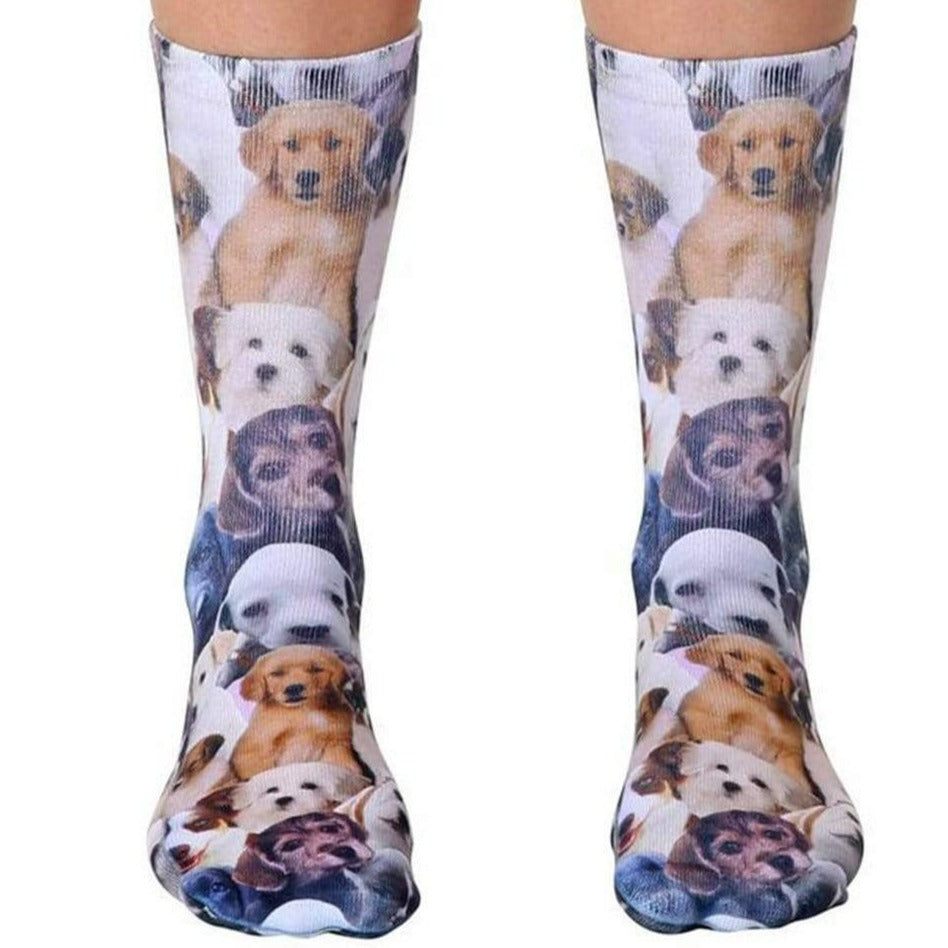 Puppy All Over Socks - Unisex Crew Sock Brown