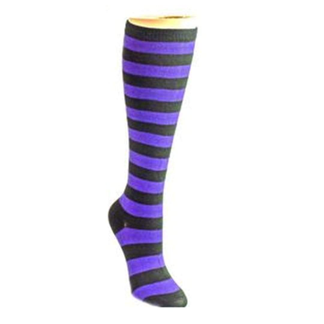 Bold Striped Socks Women's Knee High Sock Purple and black
