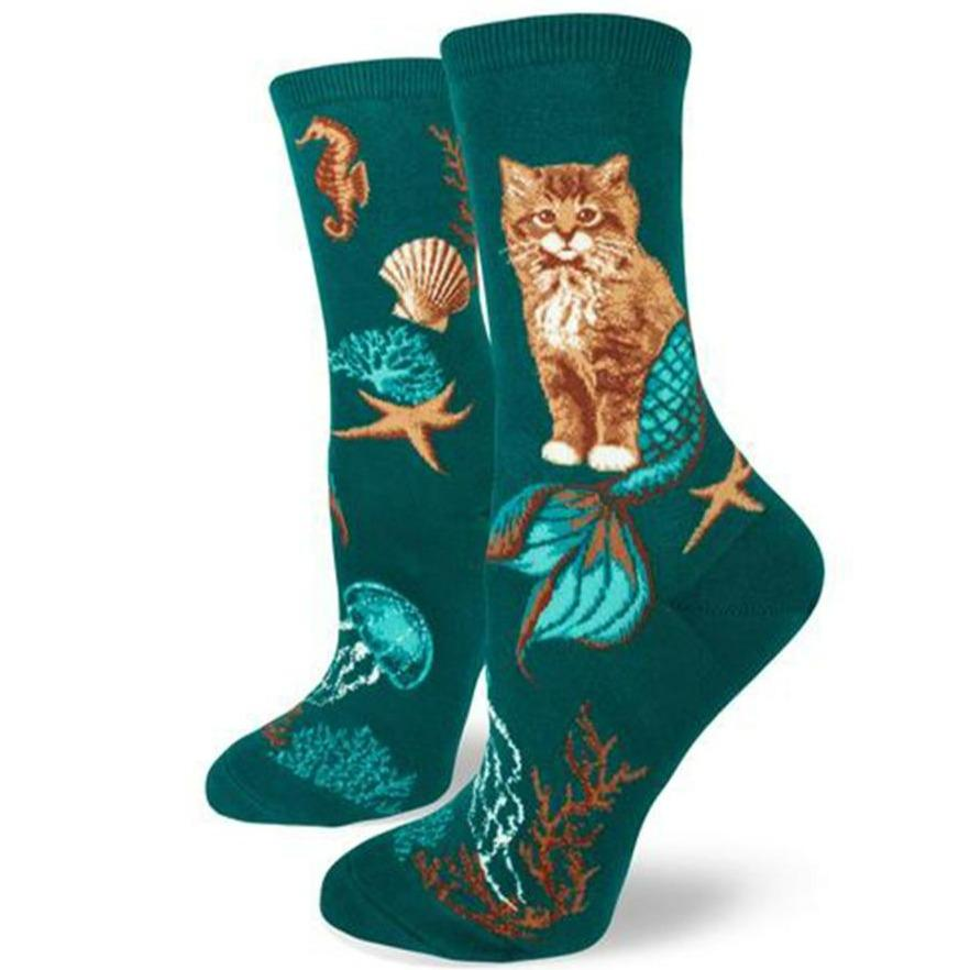 Purrmaids Socks Women's Crew Sock green