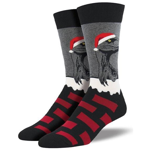 Raptor Claus Socks Men's Crew Sock Black / Regular