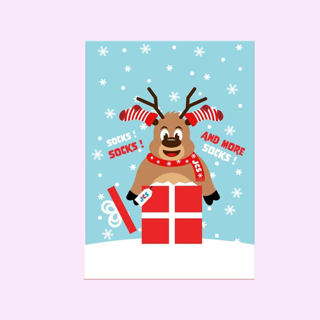 Reindeer Holiday Greeting Card Single Card