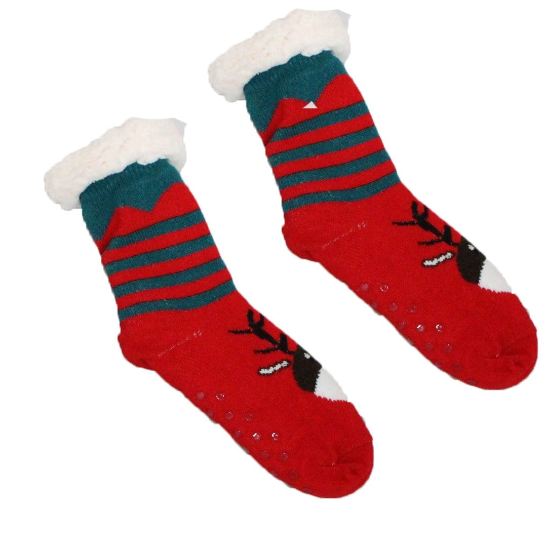 Sherpa Reindeer Striped Slipper Socks Non-Skid Slippers Red / Green