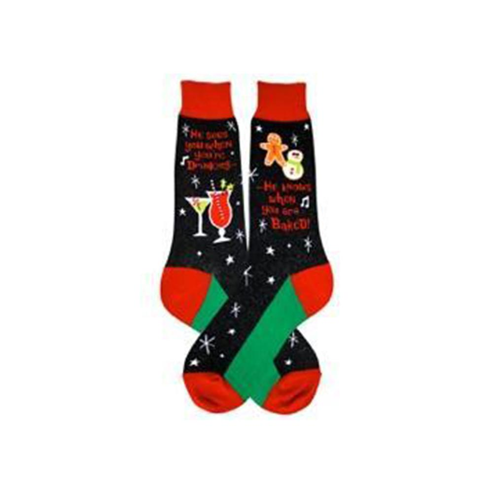 Santa Knows Socks Men's Crew Sock black