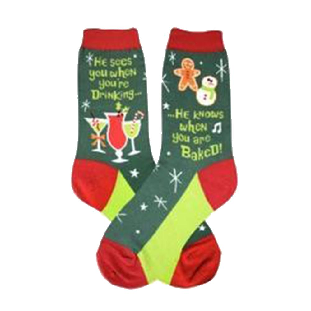Santa Knows Socks Women's Crew Sock Green