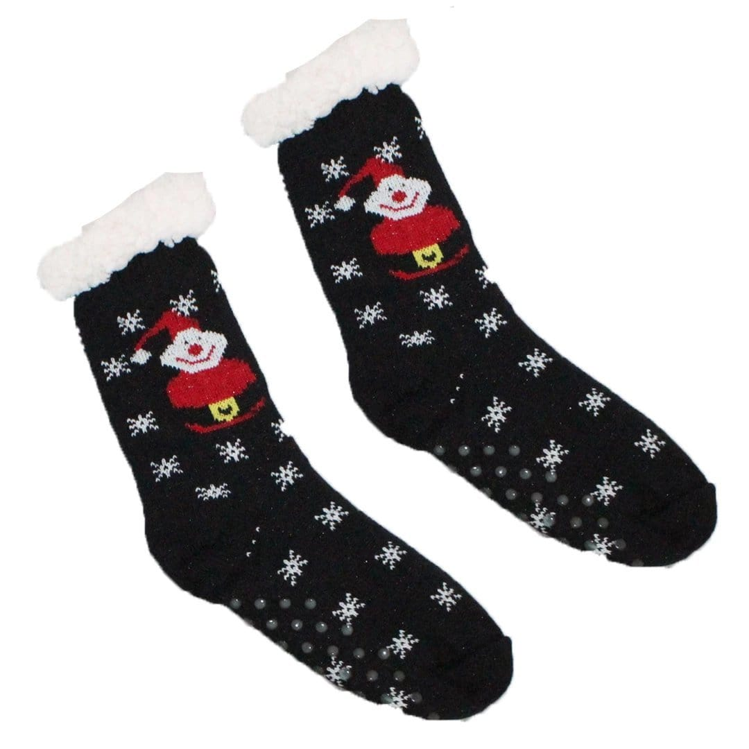 Sherpa Santa Snowflake Slipper Socks Non-Skid Slippers Black