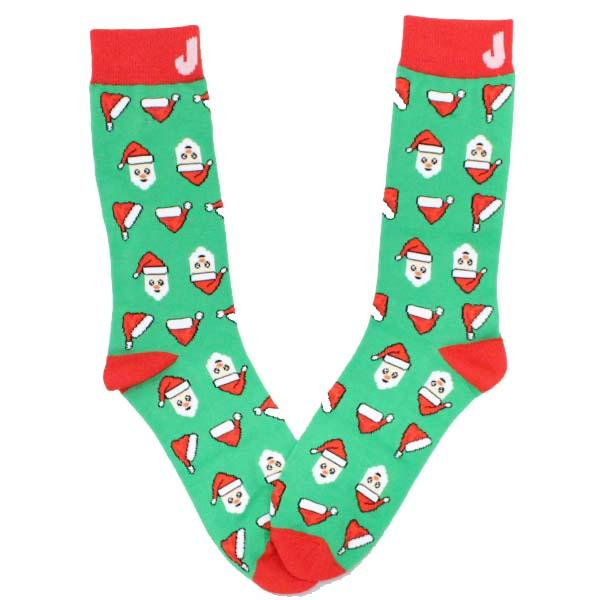 Twirling Santa Hat Crew Sock Green