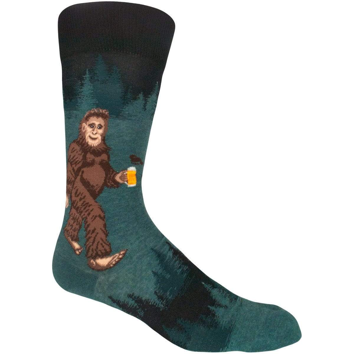 Sasquatch Loves Beer Men's Crew Sock green