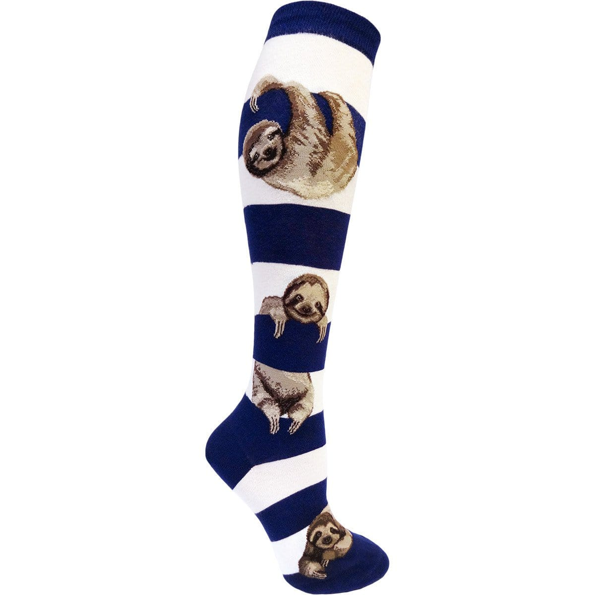 Sloth Stripe Sock Women's Knee High Socks Navy