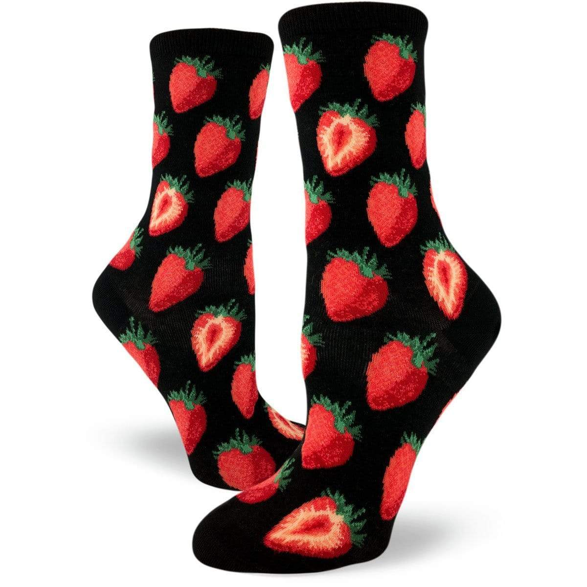 Strawberry Crew Socks for Women red