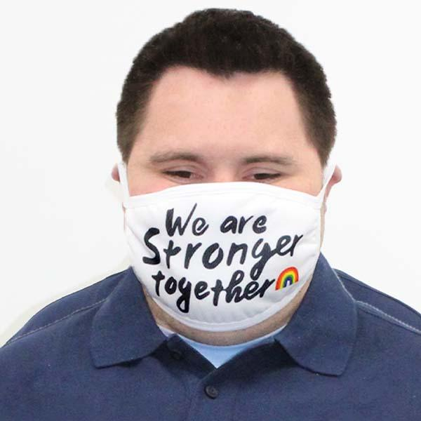 Stronger Together Face Mask white