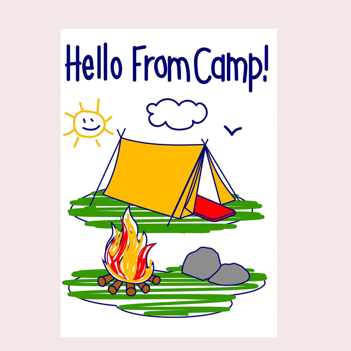 Summer Camp Greeting Card Single Card