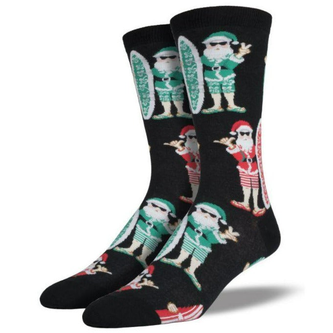 Surf-Santa Socks -Men's Crew Sock Black