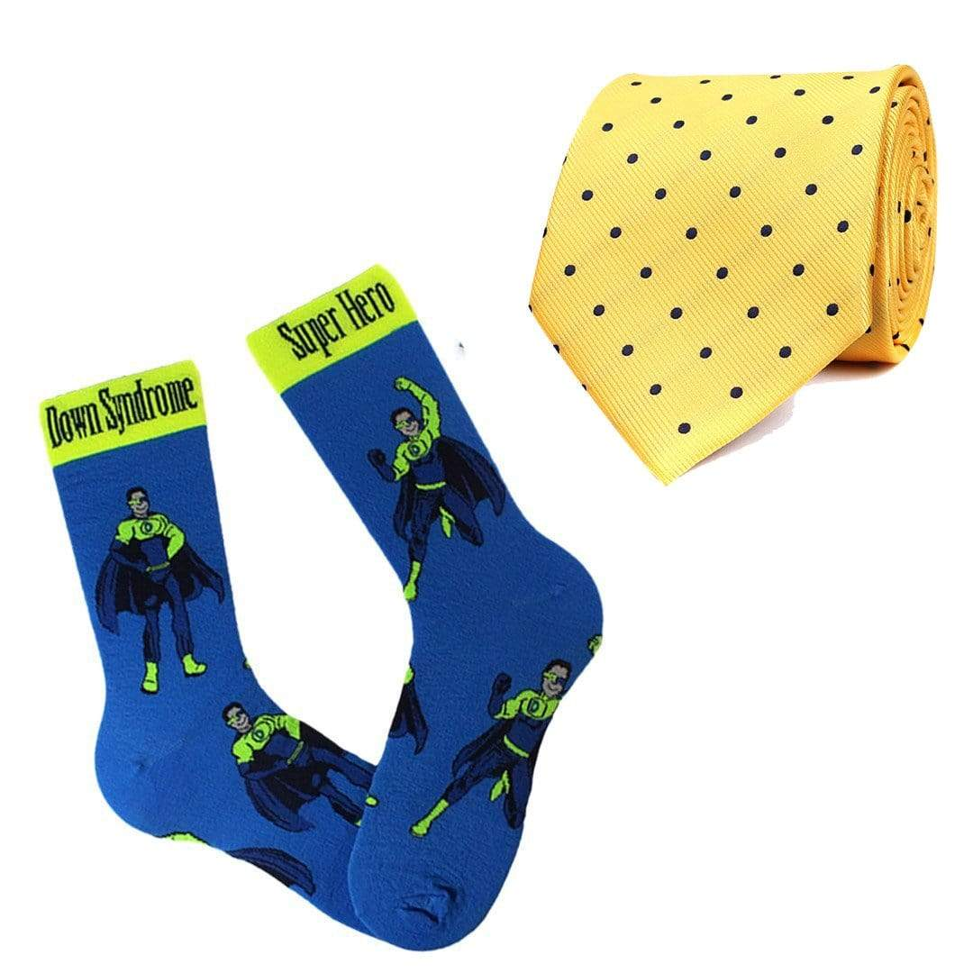 Down Syndrome Tie And Sock Pack Yellow / Blue