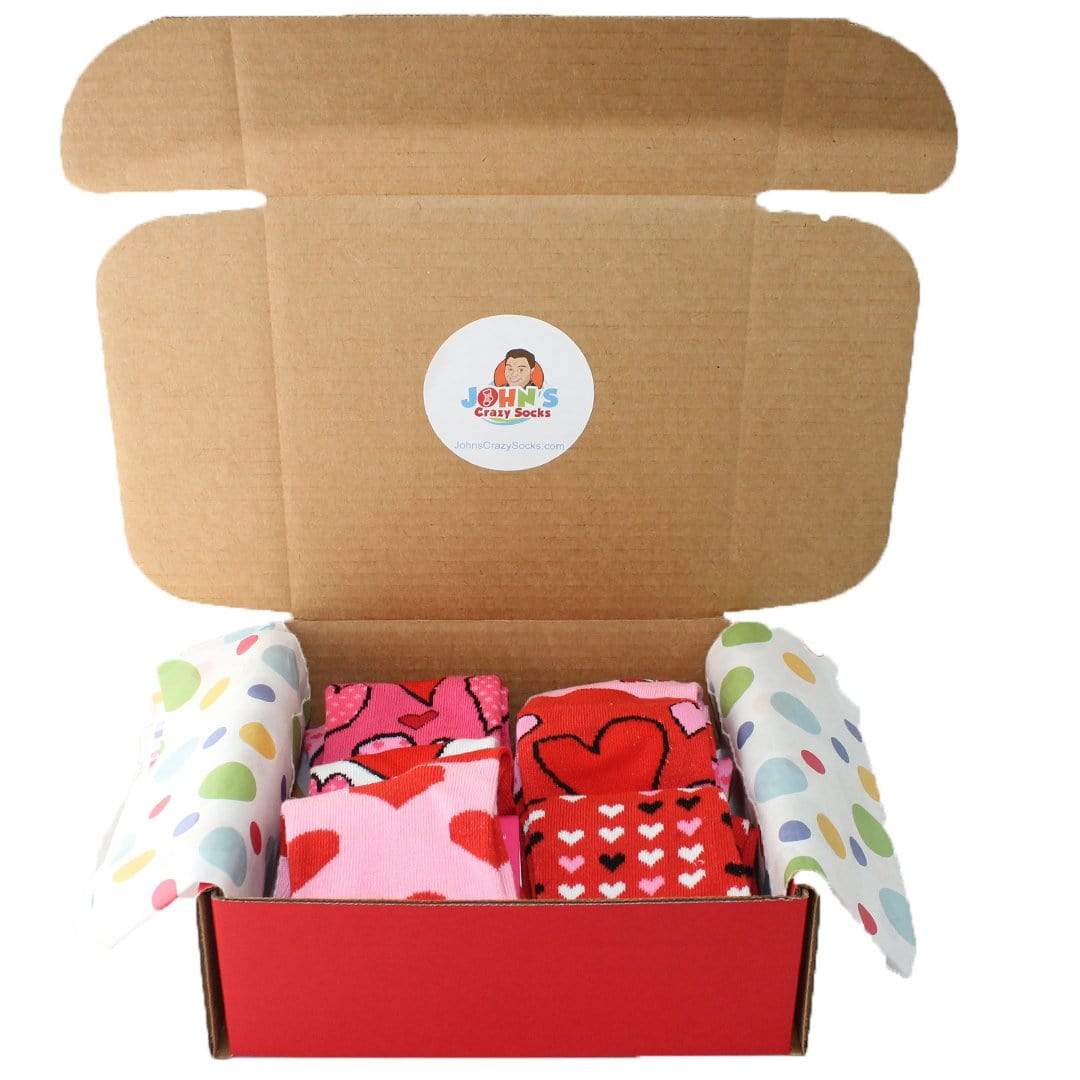 Valentine Fun Box of 6 Socks for Women Red