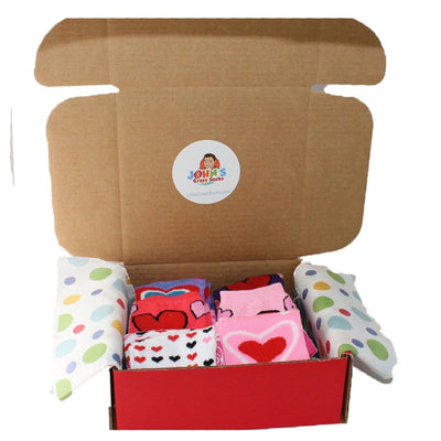 valentine fun box of 6 socks for women