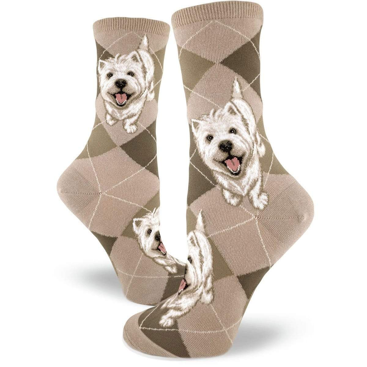 Westies Dog Socks Women's Crew Sock tan