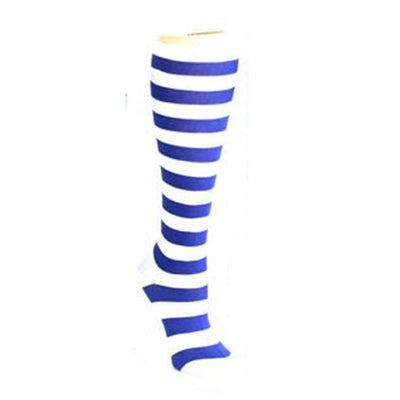 Bold Striped Socks Women's Knee High Sock blue white