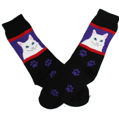 White Cat Crew Socks for Women