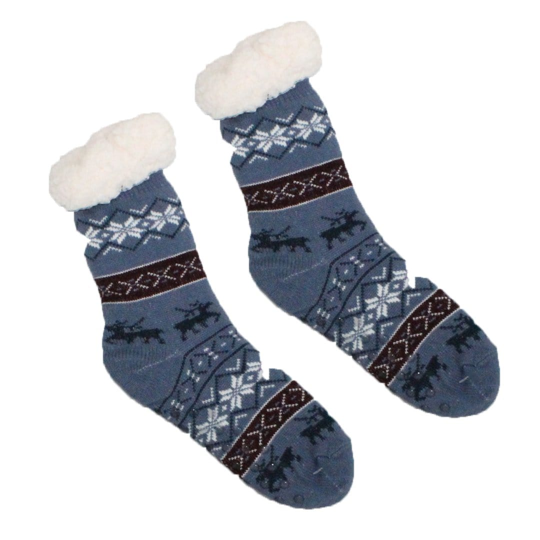 Sherpa Blue Red Winter Holiday Slipper Socks Non-Skid Slippers Blue