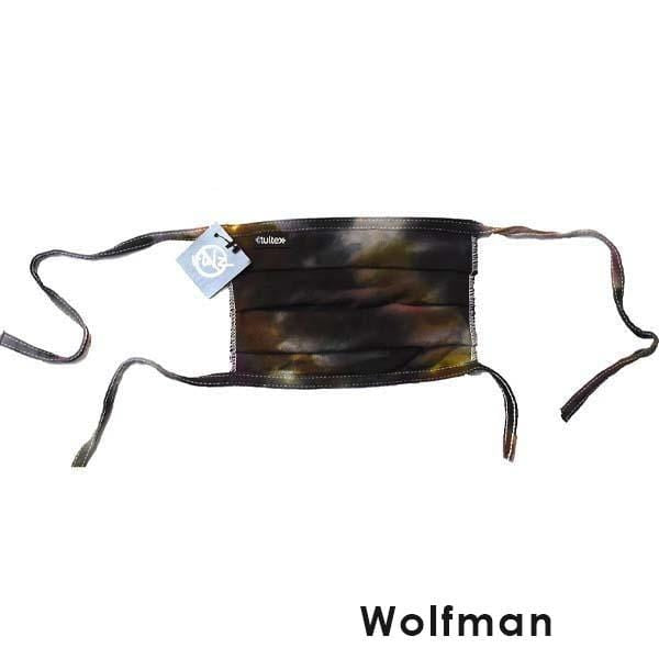No Rulz Art Pleated Face Mask with Ties Wolfman  - Brown