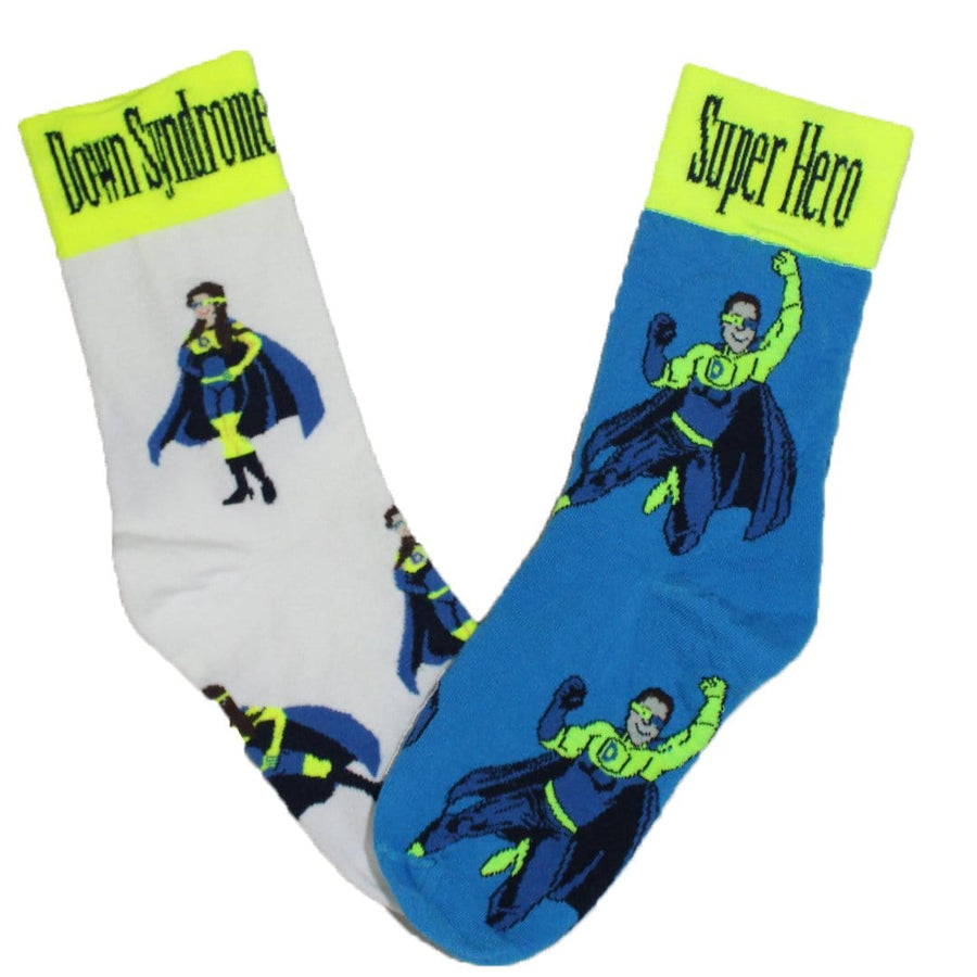 Mismatched Down Syndrome Super Hero - Crew Socks for Women